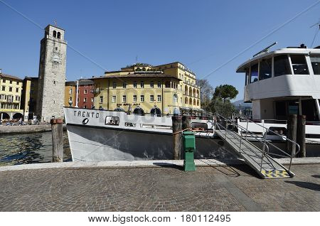 Riva del Garda Italy - March 28 2017: Ship for public transport in Riva del Garda