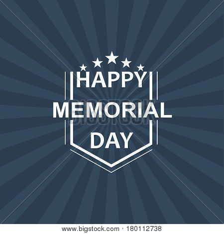 Memorial Day background with white stars and lettering. Template for Memorial Day. Vector illustration.
