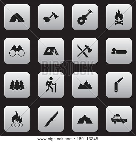 Set Of 16 Editable Travel Icons. Includes Symbols Such As Clasp-Knife, Tomahawk, Shelter And More. Can Be Used For Web, Mobile, UI And Infographic Design.