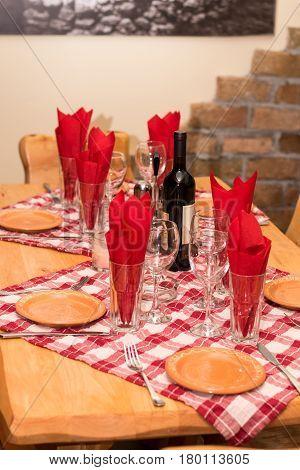 Tavern Table Setup Bottle Wine Glasses