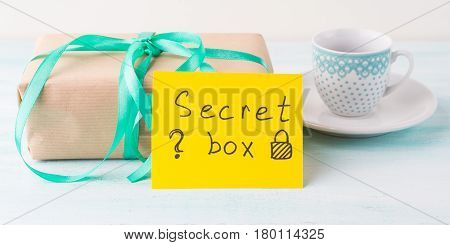 Wrapped Surprise Birthday Holiday Gift Box And Coffee
