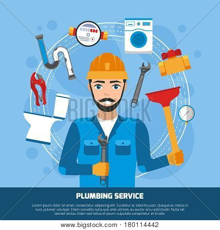 Plumber background with flat sanitary technician male character and round composition of tools and bathroom fitments vector illustration