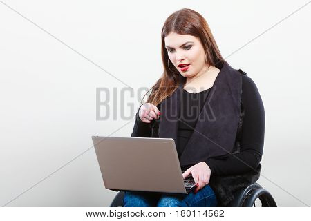 Crippled Lady With Laptop.