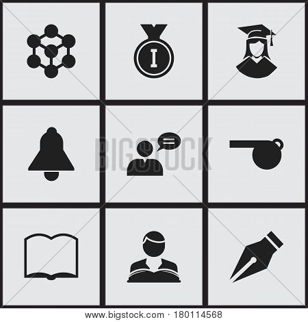 Set Of 9 Editable University Icons. Includes Symbols Such As Graduated Female, Book, First Place And More. Can Be Used For Web, Mobile, UI And Infographic Design.