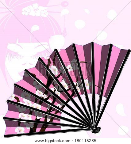 pink background and the cherry blossom fan with abstract face girl
