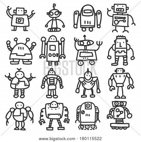 Icon Robot Cute Doodle Hand Drawn Vector Set Art Illustration