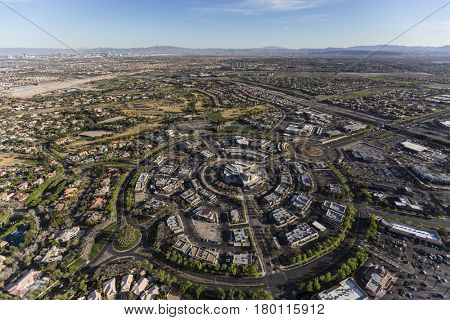 Aerial view of the Summerlin community in Las Vegas, Nevada.