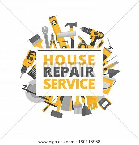 Home repair. Construction tools. Hand tools for home renovation and construction. Flat style vector illustration.