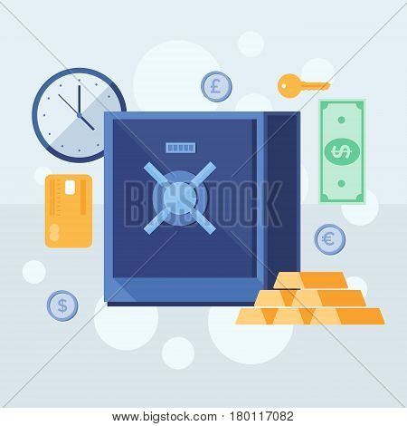 Banking deposits. Bank deposited the money, finances, transfers, currency, deposits. Modern flat design concept for web banners, web sites, printed materials, infographics.