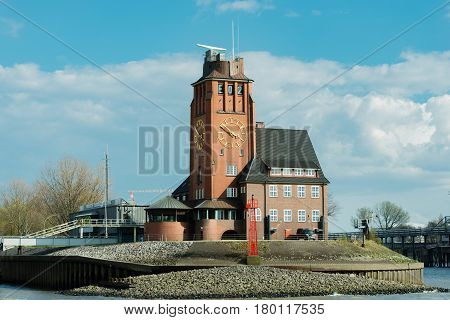 Hamburg, Germany - April 02, 2017: The pilot's pilot station Seemannshöft in Waltershof and Finkenwerder, April 02, 2017 in Hamburg