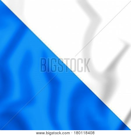 3D Flag Of Canton Of Zurich, Switzerland.