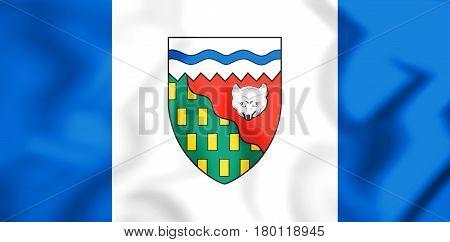 3D Flag Of Northwest Territories, Canada.