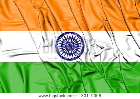 3D Flag Of The India. 3D Illustration.