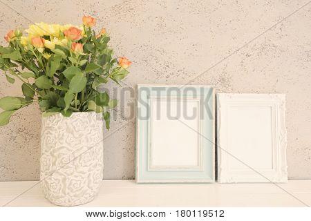 White And Blue Frame Mock Ups, Two Digital Mockup, Display Mockup, Sea Styled Stock Photography Mock