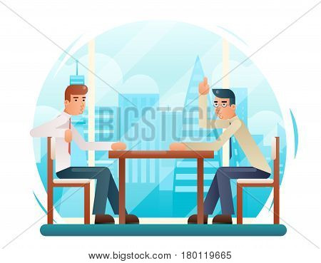 Businessmen discussing strategy flat characters design window city background vector illustration