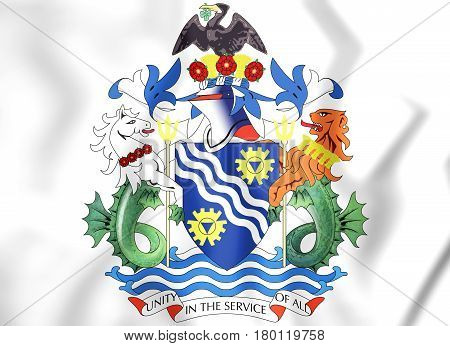 Merseyside County Coat Of Arms, England. 3D Illustration