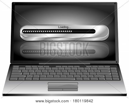 Laptop computer with silver Loading bar - 3D illustration