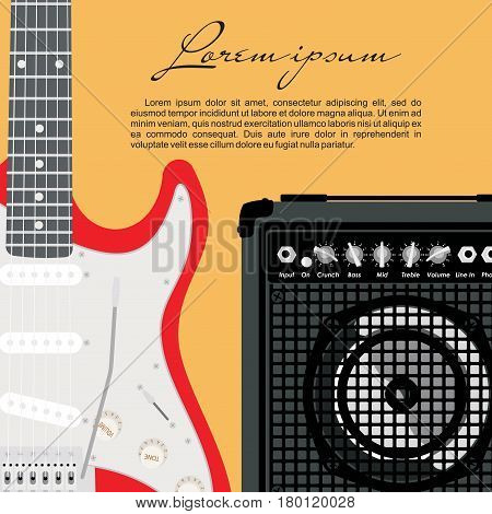 Red electric guitar with strings and speaker on yellow background.