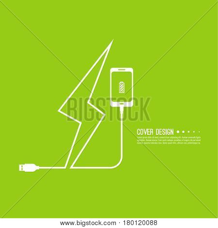 Abstract background with charge mobile phones. usb cable is connected to the smartphone. The concept  power charging. Vector. Electric