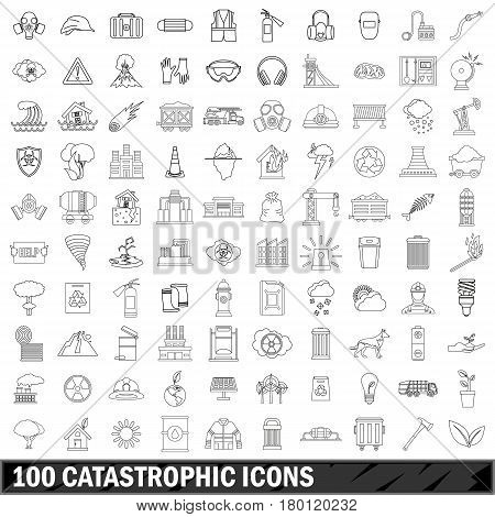 100 catastrophic icons set in outline style for any design vector illustration