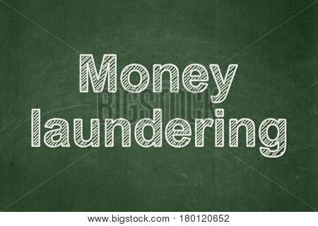 Money concept: text Money Laundering on Green chalkboard background