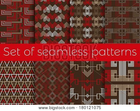 Art Deco Seamless Pattern. Set Retro Backgrounds, Red And White Color. Style 1920's, 1930's. Vector