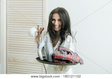 Happy Pretty Housewife With Iron And Clothes On Tray