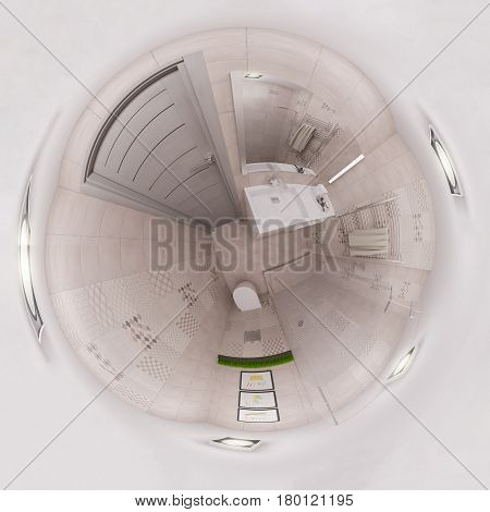 3d illustration spherical 360 degrees, seamless panorama of bathroom interior design. Modern studio apartment in the Scandinavian minimalist style. Tiny world or little planet image