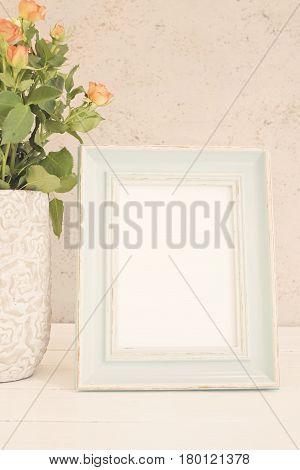 Blue Frame Mock Up, Digital Mockup, Display Mockup, Sea Styled Stock Photography Mockup, Colorful De