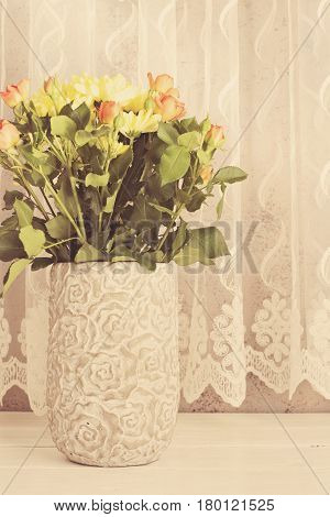 Vase Of Flowers. Rustic Vase With Orange Roses And Yellow Chrysanthemums. White Background, Empty Pl