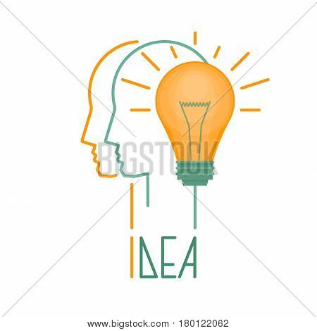 Idea And Imagination. Creative Idea Business Concept. Light Bulb. Flat Style, Vector Illustration.