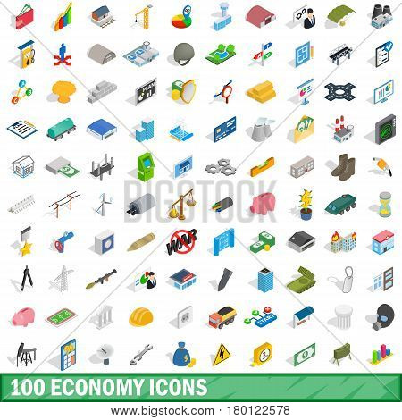 100 economy icons set in isometric 3d style for any design vector illustration