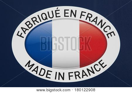 Made in France sign with french flag