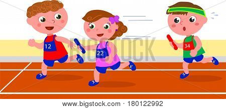 Three young girls and boys running in a relay competition. Vector illustration