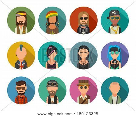 Set icon different subcultures people. Hipster raper emo rastafarian punk biker goth hippy metalhead steampunk cybergoth. Vector flat illustration on color circle.