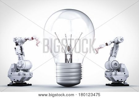 light bulb invention concept with 3d rendering robotic arm and light bulb
