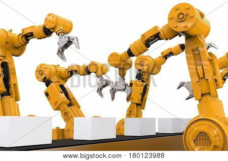Robotic Arms With Boxes On Conveyor Belt