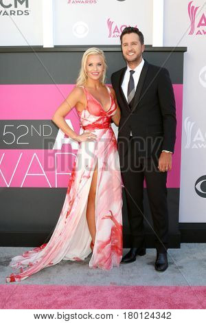 LAS VEGAS - APR 2:  Wife, Luke Bryan at the Academy of Country Music Awards 2017 at T-Mobile Arena on April 2, 2017 in Las Vegas, NV