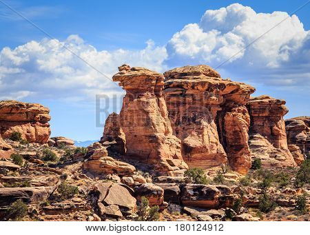 Ancient red rock formations define the landscape in Utah.