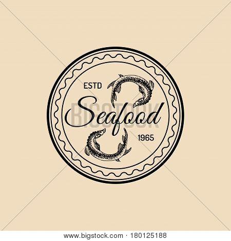 Vector vintage seafood logo. Retro marine products emblem. Hand sketched sturgeons illustration. Fish restaurant, cafe, market icon.
