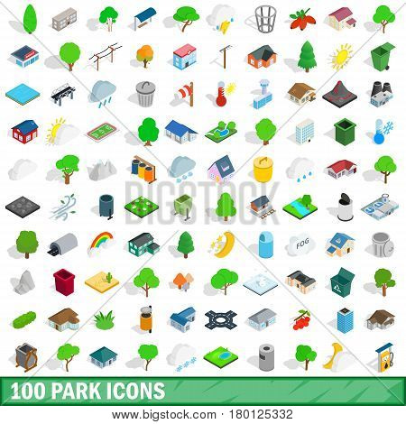 100 park icons set in isometric 3d style for any design vector illustration