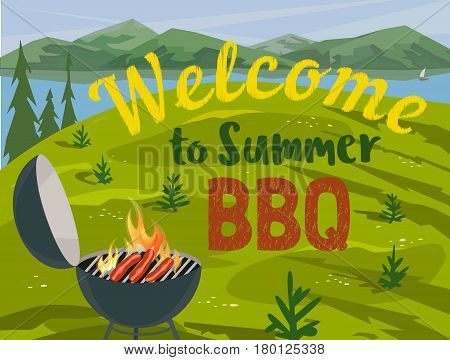 Summer outdoors concept. Cartoon retro style poster. Welcome invitation to barbecue picnic. Season holiday leisure banner background. Mountain valley, lake, green hills. Vector flaming BBQ grill