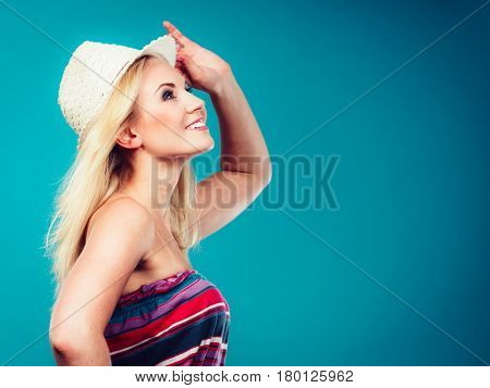 Blonde Woman Wearing Colorful Striped Strapless Shirt