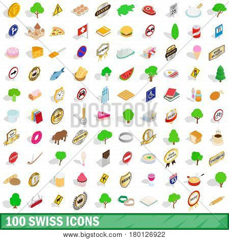 100 swiss icons set in isometric 3d style for any design vector illustration