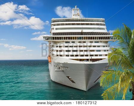 Luxury Cruise Ship Sailing from Port .