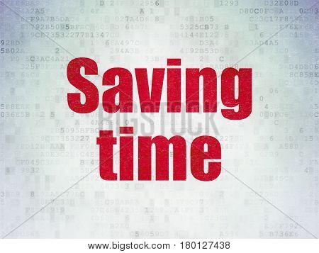 Time concept: Painted red word Saving Time on Digital Data Paper background