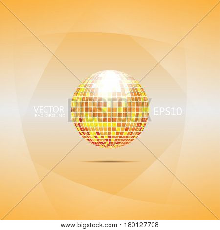 Abstract background filled orange gradient with sphere like disco ball and light smooth layers on sides