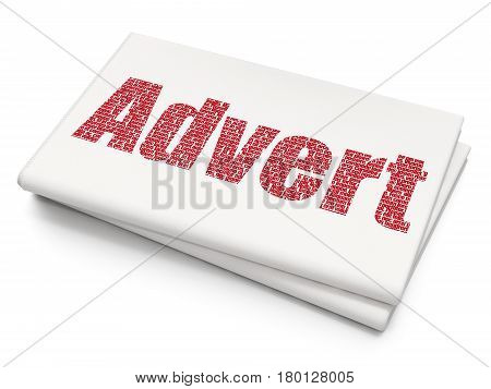 Marketing concept: Pixelated red text Advert on Blank Newspaper background, 3D rendering