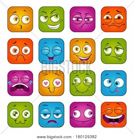 Funny colorful square faces set. Cute cartoon vector avatars. Isolated on white.
