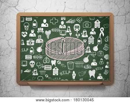 Medicine concept: Chalk Pink Pill icon on School board background with  Hand Drawn Medicine Icons, 3D Rendering